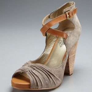 Seychelles suede peep-toe heels, clay color